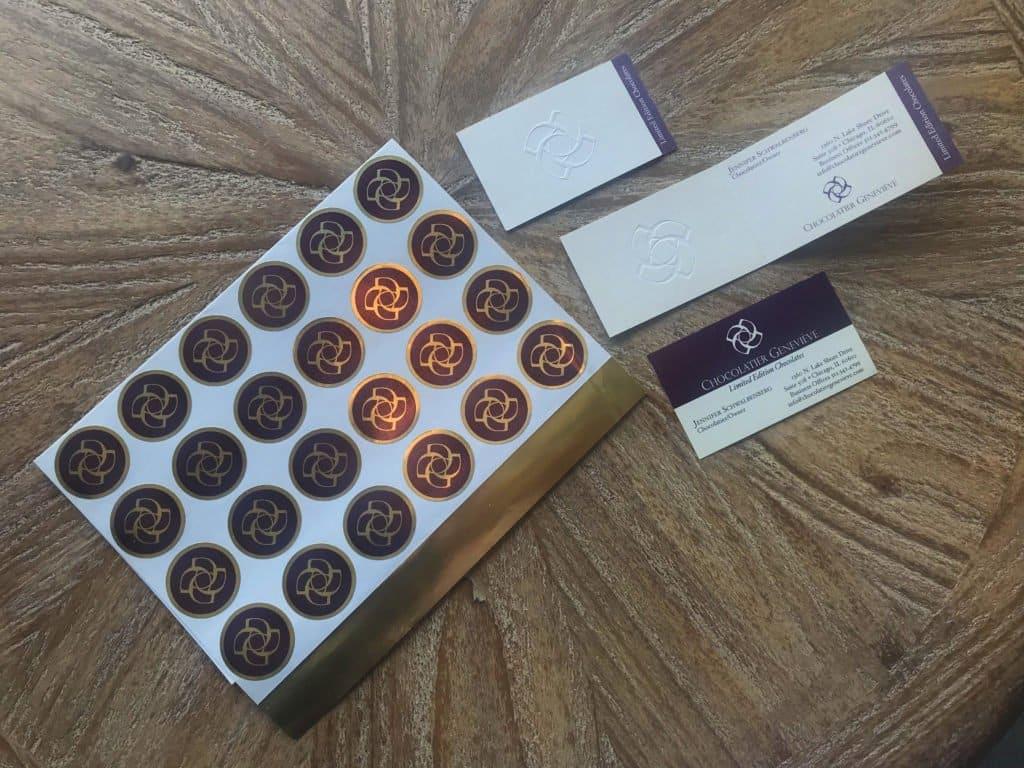 Chocolatier branding materials