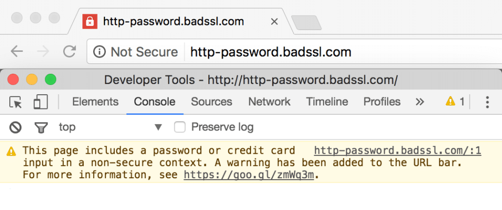 """Chrome and the """"insecure"""" site"""
