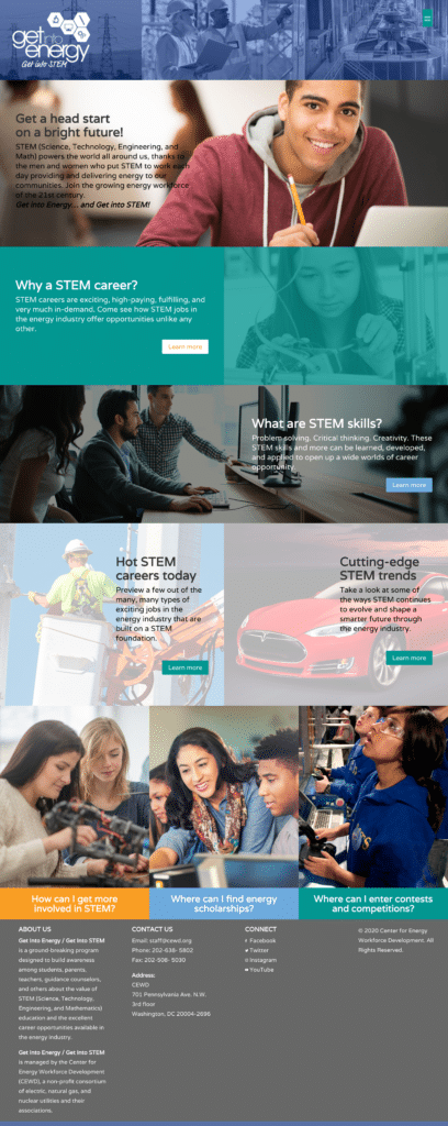 STEM energy website redesign