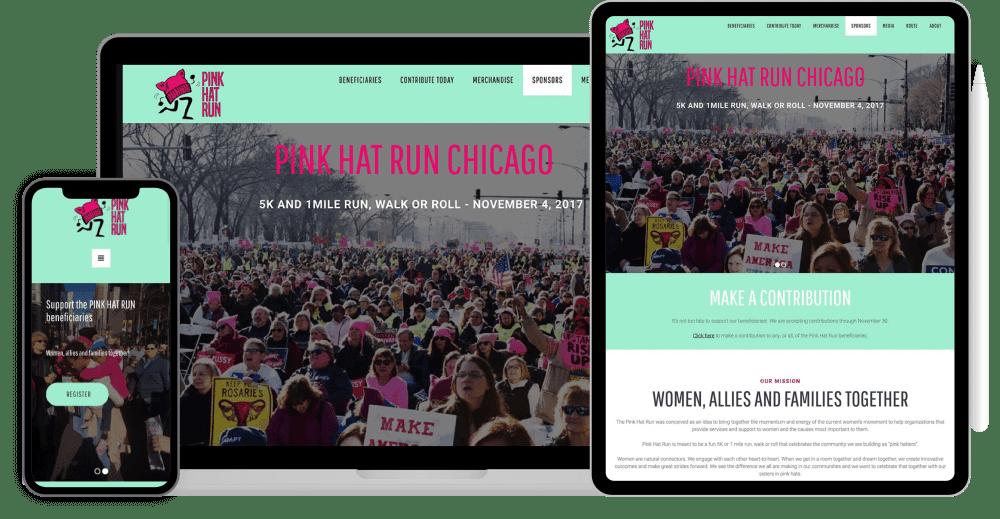 Pink Hat Run website design + buildout